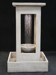 Smooth Center Rain Outdoor Fountain With Bowl and Square Basin, Large Outdoor Fountains - Outdoor Fountain Pros