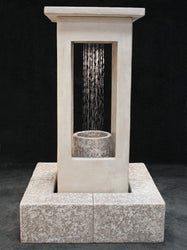 Smooth Center Rain Outdoor Fountain - Tall with Column, Large Outdoor Fountains - Outdoor Fountain Pros