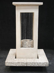 Smooth Curtain Rain Outdoor Fountain - Short with Column, Large Outdoor Fountains - Outdoor Fountain Pros