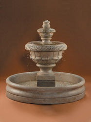 Roma Tiered Outdoor Fountain With 46 Inch Basin - Small, Tiered Outdoor Fountains - Outdoor Fountain Pros