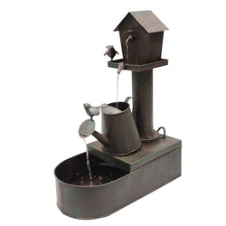 BIrdhouse Into Watercan Floor Fountain - Outdoor Fountain Pros