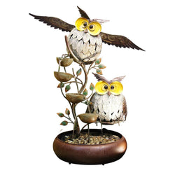 Metal Owl Tiering Fountain - Outdoor Fountain Pros