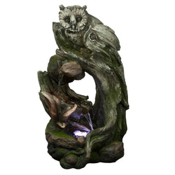 Owl Rainforest Tree Trunk Fountain With White LED Light- Outdoor Fountain Pros
