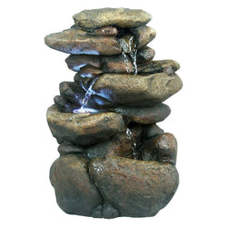 3 Tier Rock Tabletop Fountain With White LED Lights - Outdoor Fountain Pros