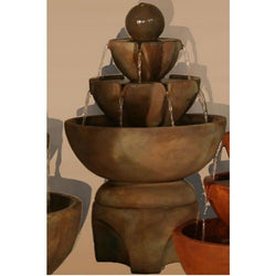 Low Stone Vessels Fountain on Pedestal, Garden Outdoor Fountains - Outdoor Fountain Pros