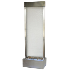 6' Gardenfall Clear Glass and Brushed Stainless Steel Frame Fountain with LED Lights