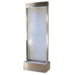7.5' Gardenfall Clear Glass and Brushed Stainless Steel Frame Fountain with LED Lights