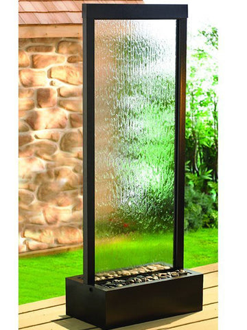 7.5' Gardenfall Clear Glass and Black Oxide Fountain with LED Lights, Garden Outdoor Fountain - Outdoor Fountain Pros