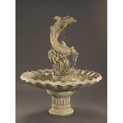 Dolphins With Shell Bowl Cast Stone Garden Fountain, Garden Outdoor Fountains - Outdoor Fountain Pros