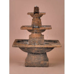 3-Tier Quadrate Outdoor Water Fountain, Tiered Outdoor Fountains - Outdoor Fountain Pros