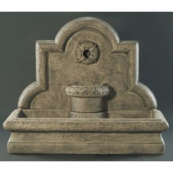Rosette Cast Stone Wall Outdoor Fountain, Wall Outdoor Fountains - Outdoor Fountain Pros