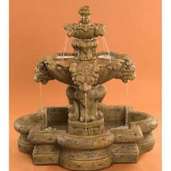 Courtyard Lion Tiered Garden Fountain in Quatrefoil Basin - Small, Tiered Outdoor Fountains - Outdoor Fountain Pros