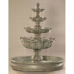 Italian 4-Tier Outdoor Water Fountain With 74 Inches Basin, Tiered Outdoor Fountains - Outdoor Fountain Pros