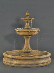 Verona 2 Tiers Outdoor Fountain With 55 Inch Basin - Large, Tiered Outdoor Fountains - Outdoor Fountain Pros