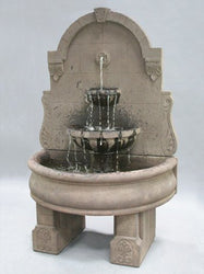Bavarian Wall Outdoor Fountain With Basin And Pedestals - Outdoor Fountain Pros