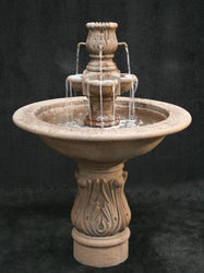 Assisi Garden Water Fountain with Smooth Cobra Pedestal - Outdoor Fountain Pros