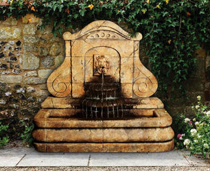 Avignon Lion Wall Outdoor Fountain - Outdoor Fountain Pros
