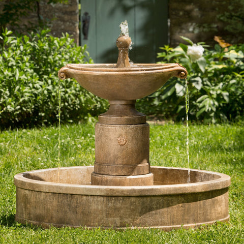 Borghese Garden Water Fountain in Basin, Garden Outdoor Fountains - Outdoor Fountain Pros