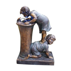 Boy And Girl Drinking Water Fountain With LED Light - Outdoor Fountain Pros