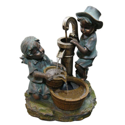 Boy And Girl Fetching Water Fountain - Outdoor Fountain Pros