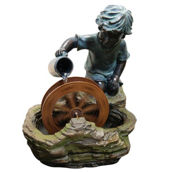 Boy With Wheel Garden Fountain - Outdoor Fountain Pros
