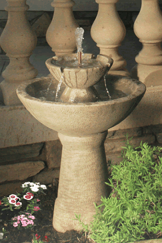 2-Tier Color Bowl With Lips Garden Water Fountain- Tall, Tiered Outdoor Fountains - Outdoor Fountain Pros