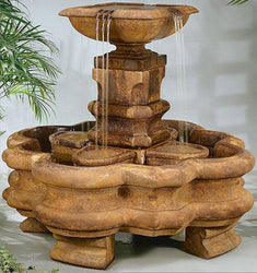 Classic Planter Pillar Garden Fountain with Splash Basket and Pedestal, Garden Outdoor Fountains - Outdoor Fountain Pros