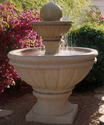 Concrete 2 Tiered Tuscany Fountain w/ Ball - Outdoor Fountain Pros