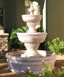 Concrete Three Tiered Sonoma Fountain w/ Basin - Outdoor Fountain Pros