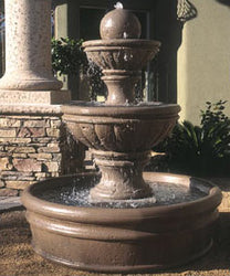 Concrete Tuscany Series Tiered Fountain w/ Basin - Outdoor Fountain Pros