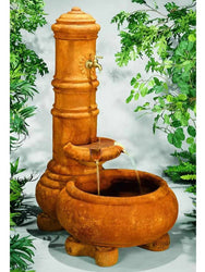 Cylinder Column Well Garden Fountain, Garden Outdoor Fountains - Outdoor Fountain Pros