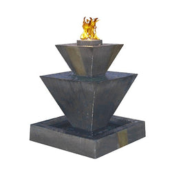 Double Oblique Fountain with Fire - Outdoor Fountain Pros