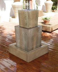 Double Obtuse Garden Water Fountain, Tiered Outdoor Fountains - Outdoor Fountain Pros