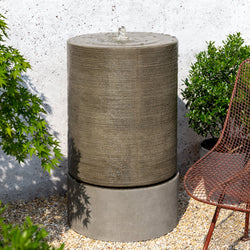 Large Ribbed Cylinder Garden Fountain
