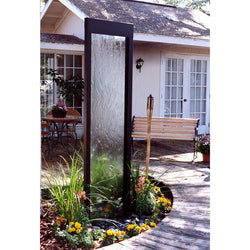 4' Gardenfall Black Onyx with Clear Glass Fountain, Garden Outdoor Fountain - Outdoor Fountain Pros