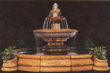 Grande Palazzo Fluted Fountain, Large Outdoor Fountains - Outdoor Fountain Pros