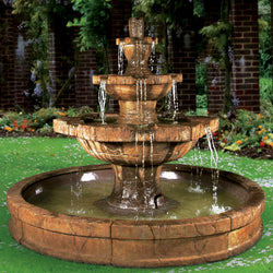 Grenoble Tiered Outdoor Fountain in Pool  - Outdoor Fountain Pros