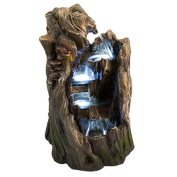 "22"" Walnut Log Outdoor Garden Fountain with LED Lights, Garden Outdoor Fountains - Outdoor Fountain Pros"