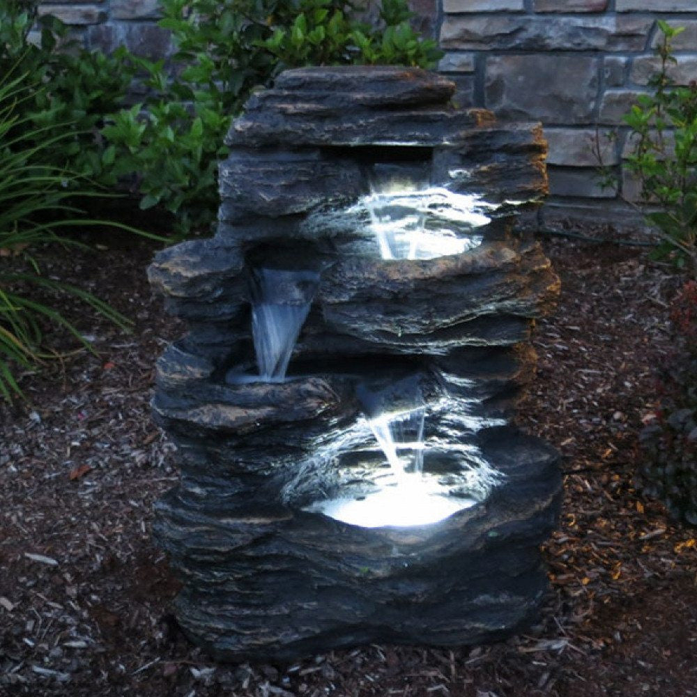 24 rock waterfall fountain with led lights for Waterfall water feature