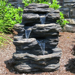 "24"" Rock Waterfall Fountain With LED Lights - Outdoor Fountain Pros"