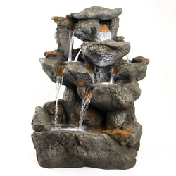 "33"" Granite Rock Fountain w/LED Lights, Garden Outdoor Fountains - Outdoor Fountain Pros"