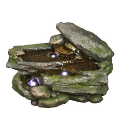 Majestic Rock Fountain w/ LED Lights, Garden Outdoor Fountains - Outdoor Fountain Pros