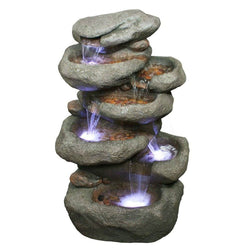 "32"" Tower Rock Fountain w/LED Lights, Garden Outdoor Fountains - Outdoor Fountain Pros"