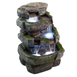 "22"" Wilson Rock Fountain w/LED Lights, Garden Outdoor Fountains - Outdoor Fountain Pros"