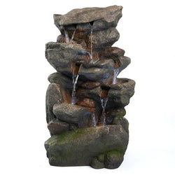 "32"" Bear Creek Fountain w/ LED Lights, Garden Outdoor Fountains - Outdoor Fountain Pros"