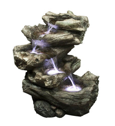 "22"" Meadow Log Fountain with LED Lights, Garden Outdoor Fountains - Outdoor Fountain Pros"