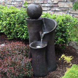 "35"" Floating Sphere Waterslide Garden Fountain - Outdoor Fountain Pros"