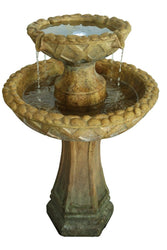 "Travertine 31"" 2-Tier Fountain W/LED, Garden Outdoor Fountains - Outdoor Fountain Pros"