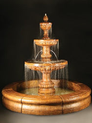 Mediterranean Fountain with Plumbed Spacer and Fiore Pond, Large Outdoor Fountains - Outdoor Fountain Pros