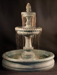 "Pioggia Cast Stone Tiered Outdoor Fountain with 55"" Basin, Tiered Outdoor Fountains - Outdoor Fountain Pros"